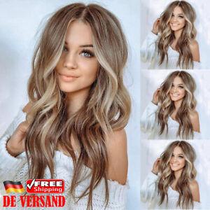 Details Zu De Damen Langhaar Braunes Gold Wigs Mode Blond Ombre Gelockt Glatt Volle Perücke