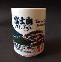 Japanese 4h Porcelain Sushi Tea Cup Sunrise Fuji Mountain Kanji, Made In Japan