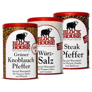 3-Dosen-Block-House-Wuerzsalz-Steak-amp-gruener-Knoblauch-Pfeffer-im-Set