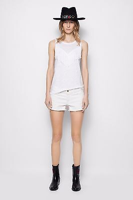 NEW ZADIG AND VOLTAIRE CURE FRINGES LINEN WHITE T-SHIRT SIZE LARGE