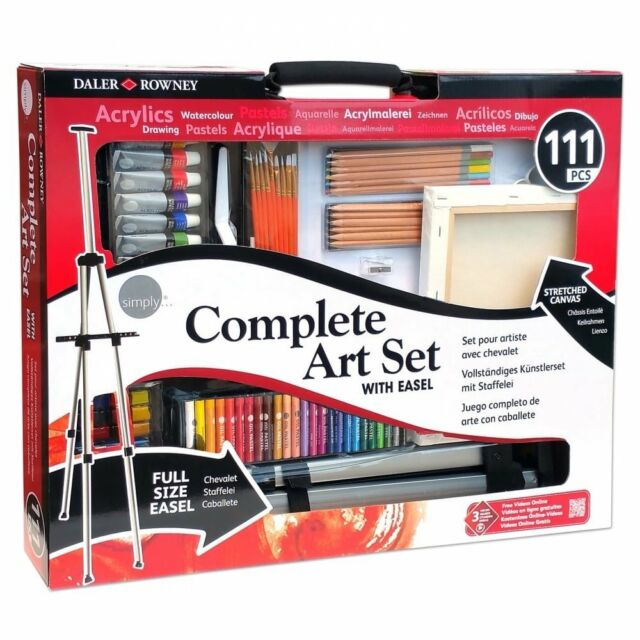 Daler Rowney Simply Complete Art Set With Aluminium Easel 111 Items