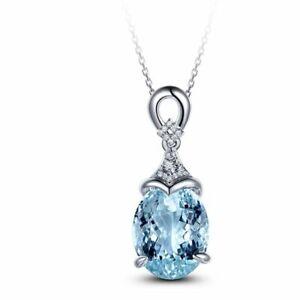 Silber-925-Halskette-Schluesselbein-Kette-Aquamarin-Anhaenger-Meerjungfrau-Ozean