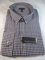 Van Heusen Premium No Iron Long Sleeve Dress Shirt, Reg. Fit, Purple Plaid