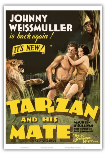 Tarzan and His Mate Johnny Weissmuller Vintage Art Poster Print