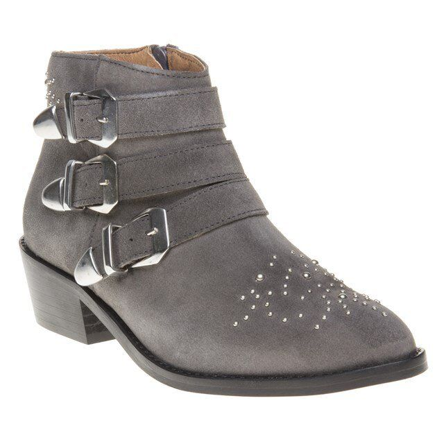 New Womens SOLE Grey Averil Suede Boots Ankle Zip