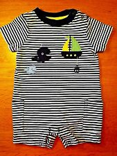 Gymboree-Baby Boys-Size 3-6 Months-Whale-Sailboat-Summer Shorts Romper-Outfit
