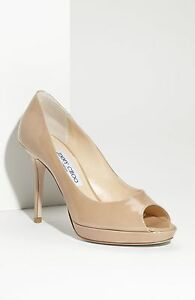 Jimmy-Choo-Nude-Patent-Leather-039-Atom-039-Peep-Toe-Pumps-Shoes-Heels-New-Size-36-5