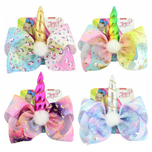 JoJo Siwa Hair Bow With Alligator Clip Girl Kids Bowknot 8inch Girls Gifts ZTIN