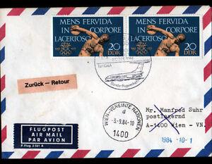 ENVELOPPE-Timbree-034-JEUX-OLYMPIQUES-034-Obliteration-Flamme-postale-AVIATION-en-1984