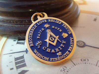 LOVELY MASONIC 12CT GOLD PLATED & BLUE ENAMEL POCKET WATCH CHAIN FOB OR PENDANT.