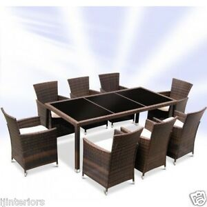 Image Is Loading Rattan Garden Furniture Dining Table And 8 Chairs