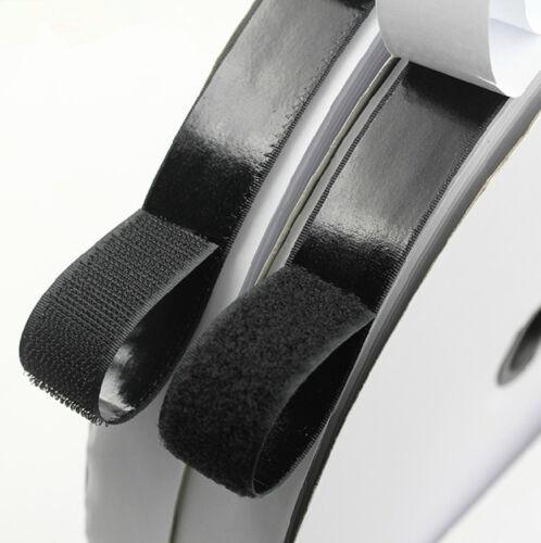 50MM Self Adhesive Sticky Backed Hook /& Loop Fastener BLACK Tape UK New FREE P/&P