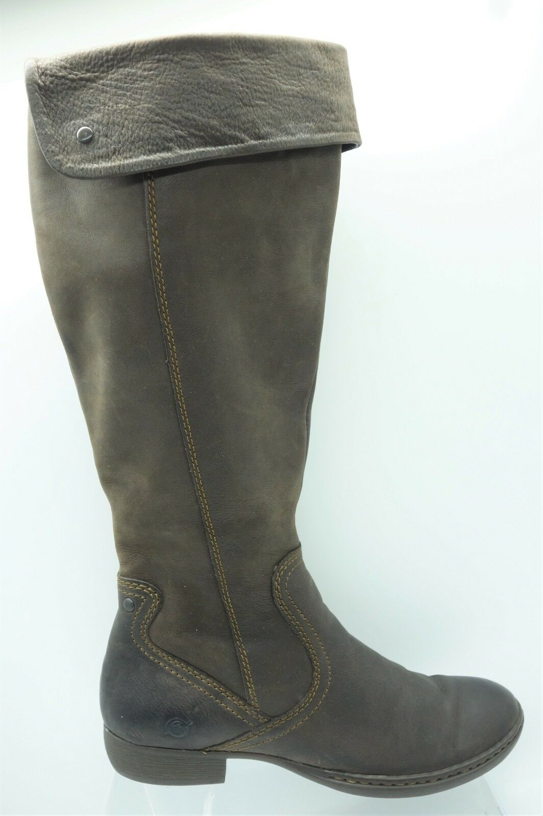 Born Brown Leather PullOn Side Zip Cuff Knee High Riding Boot Womens 38.5   7.5M
