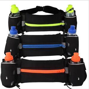 Outdoor Walking Running Jogging 2 Water Bottle Waist Bag Pouch Sports Waist Belt