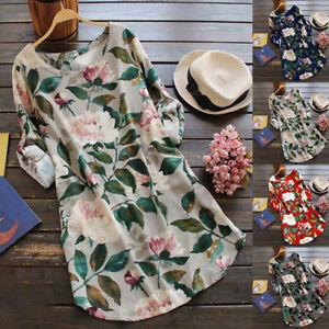Summer-Womens-Floral-Tops-Blouse-Ladies-Long-Sleeve-T-Shirt-Dress-Plus-Size-6-22