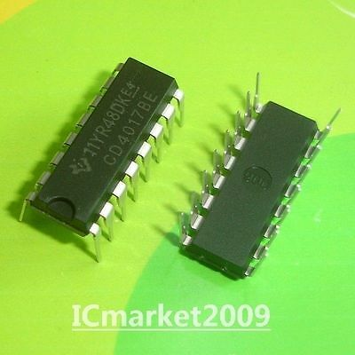 100 PCS CD4017BE DIP-16 CD4017 CMOS COUNTER/DIVIDERS WITH 10 DECODED OUTPUTS