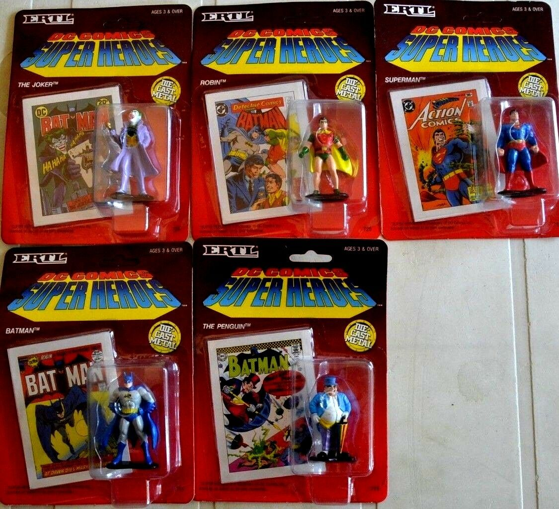 Set 5 action figures DC COMICS SUPER HEROES by ERTL 1990 Batman Superman new box