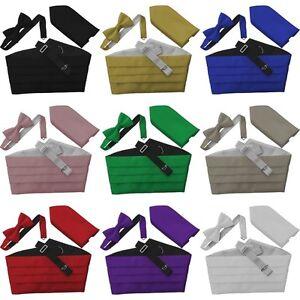 Italian-Satin-Bow-Tie-Cummerbund-Hanky-Handkerchief