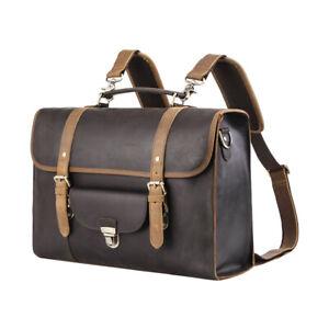 """Men Genuine Leather Backpack Briefcase 16"""" Laptop Shoulder Bag Travel School Bag"""