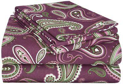 10-t11 Bettwaren, -wäsche & Matratzen Selbstlos Superior Flanell Bettlakenset 183x213cm Baumwolle Violettes Paisleymuster