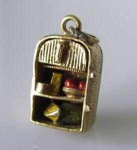 Encanto de oro 9ct-Vintage Nevera De oro Amarillo de 9ct con encanto de alimentos Esmaltado