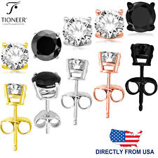 2mm-10mm Sterling Silver 925 Round Cut Cubic Zirconia Men Women Ear Stud Earring