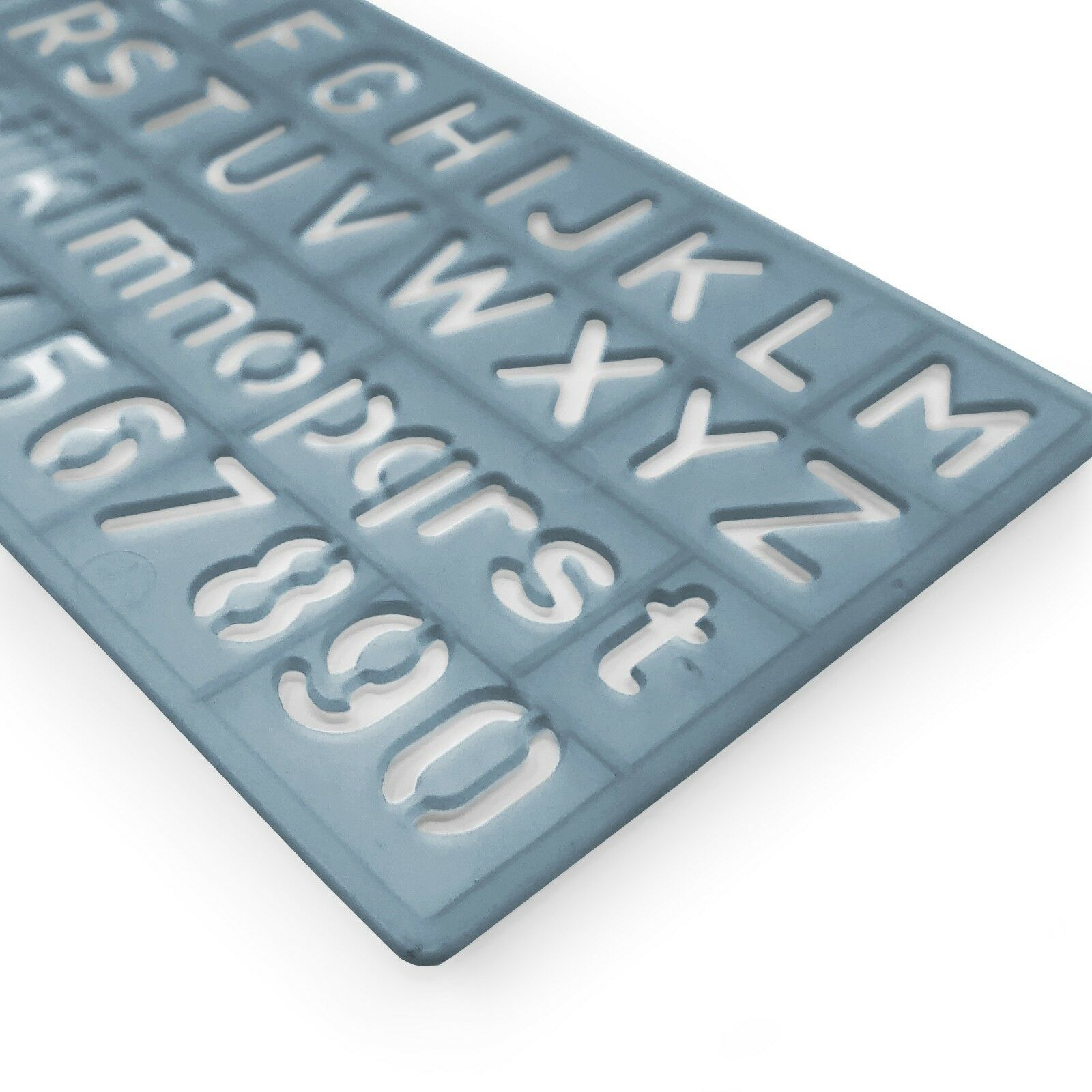 19x10.9cm Westcott Capital Alphabet and Number 20mm Stencil Transparent Blue