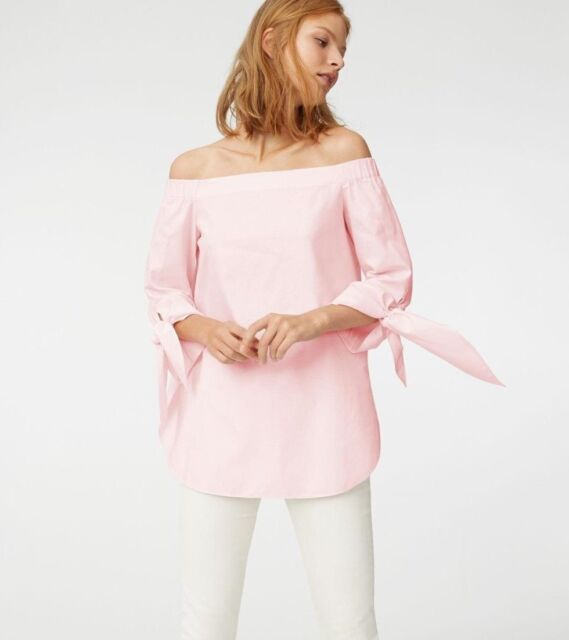 bca0a4c431b81 Club Monaco Shirt Women s Size 6  Sophiya  Off Shoulder Top in Pink Rose
