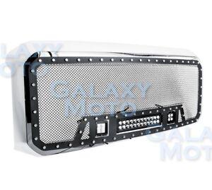 08-10-Ford-Super-Duty-Rivet-Black-SS-Mesh-Grille-Chrome-Shell-LED-LED-Light-Bar