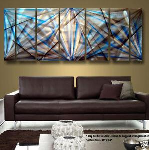 Modern-Abstract-Metal-Wall-Art-Blue-Decor-Sculpture-Fortress-Of-Solitude
