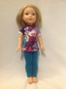 Fit-Wellie-Wishers-Dress-leggings-flowers-American-Girl-14-034-doll-clothes-outfit