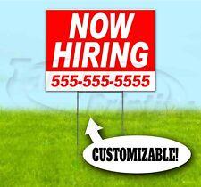 Now Hiring Custom Phone 18x24 Yard Sign With Stake Bandit Usa Employment