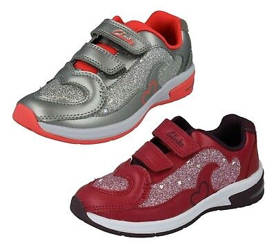 CLARKS Piper Chat Girls Leather Glitter Trainer
