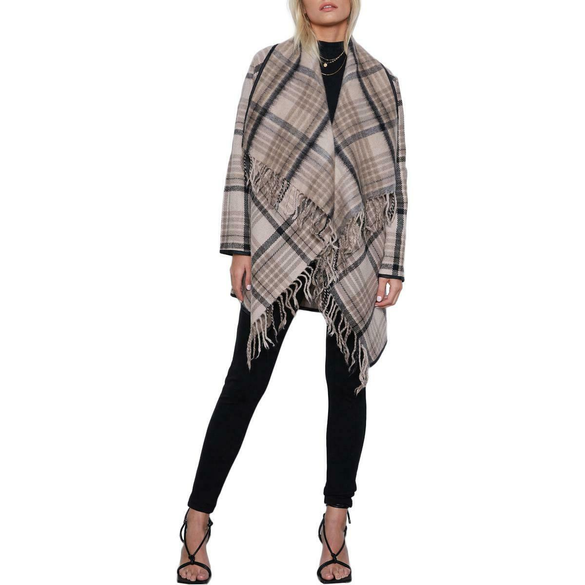 Tart Collections Sage Women's Plaid Asymmetric Fringed Wool Coat