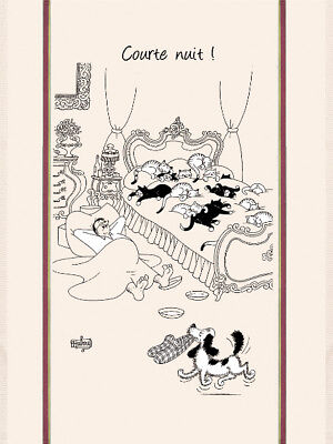 Torchons & Bouchons French Dog Cats Dubout Art Kitchen Courte Nuit Towel New $21 by Torchons & Bouchons