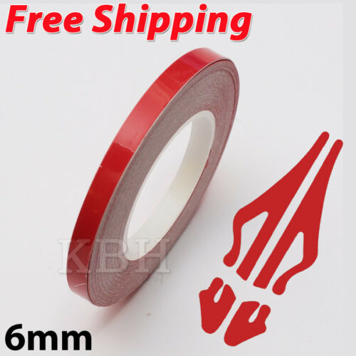 "6mm 1//4/"" Pin Stripe Pinstriping Solid Line Tape Vinyl Decal Sticker Car Red"