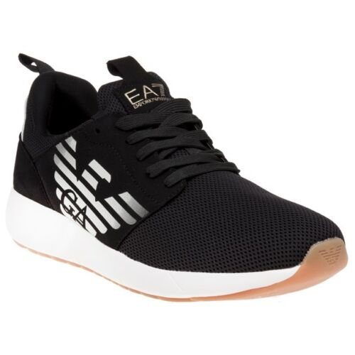 New Mens Ea7 Black Fusion Racer Nylon Trainers Running Style Lace Up