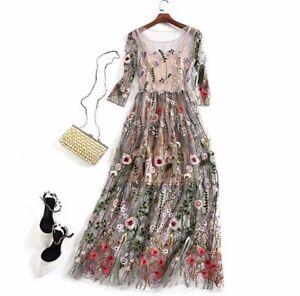 Vestiti Eleganti A Fiori.Vestito Lungo Elegante Tulle Rose Chiffon Ricamo Floreal Cerimonia
