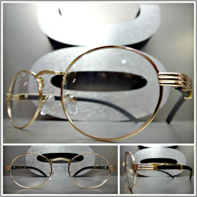 e0e8713c2eea Men s CLASSY MODERN Clear Lens EYE GLASSES Oval Gold   Faux Wood Wooden  Frame