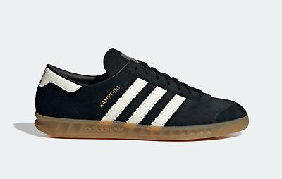 adidas Mens Originals Hamburg Shoes Premium Leather Trainers in Black and White | eBay