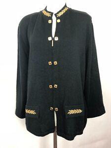 DYLANI-KNITWEAR-Women-039-s-Cardigan-Sweater-Black-with-gold-trim-Preppy-Zip-Up