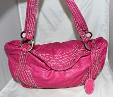 Red by Marc Ecko Rose Pink with White Stitching Studded Faux Leather Hobo Bag