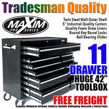 "MAXIM 42"" Black Tool Cabinet 11 Drawer Box Toolbox Chest Trolley Roller Garage"
