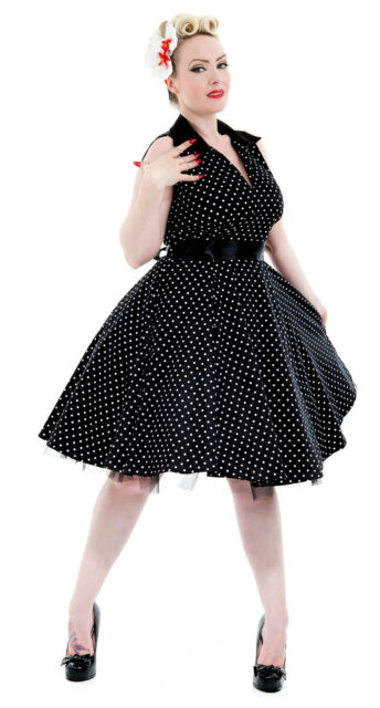 Classic 50's Black Polka Dot V Neck Rockabilly Full Circle Jive Dress New 8 - 18