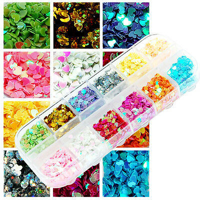 12 Colors Nail Art Acrylic Glitter Sequins Heart Tips Decoration w/ Box M057