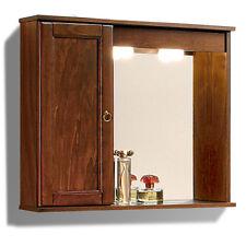 Arredo bagno specchiera stile arte povera pensile sinistro e anta in legno cm 69