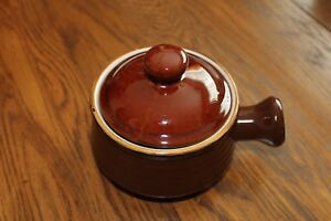 STONECREST-034-Margaret-034-Pottery-SOUP-BOWL-MUG-Handle-Crock-Bands-Brown-FR-2