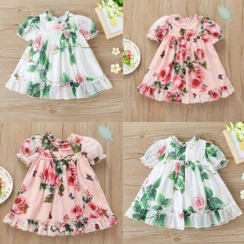 Details about  /Toddler Baby Girls Printed Rose Dress Birthday Party Princess Clothes Kid Outfit