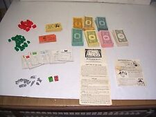 VTG MONOPOLY TRAIN 1957 PARKER BROS GAME TOKENS HOUSES HOTEL DIE CRAFT SCRAPBOOK