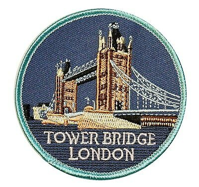 "UK Landmark ""Tower Bridge London"" England Travel Patch Souvenir Iron-On Applique"